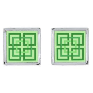 Moderne Geometrische Vierkanten, Groen en Verzilverde Manchetknopen