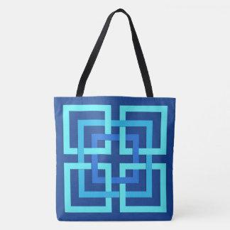 Moderne Geometrische Vierkanten, het Blauw van het Draagtas