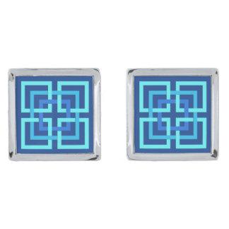 Moderne Geometrische Vierkanten, het Blauw van het Verzilverde Manchetknopen