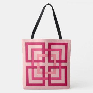 Moderne Geometrische Vierkanten, het Roze van het Draagtas