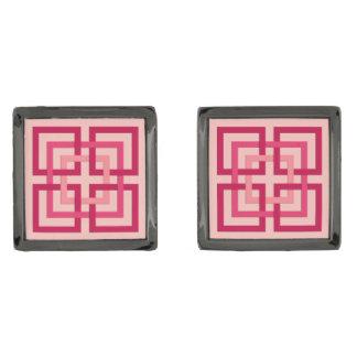 Moderne Geometrische Vierkanten, het Roze van het Verbronsde Manchetknopen