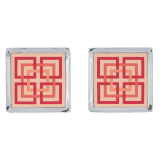 Moderne Geometrische Vierkanten, het Sinaasappel Verzilverde Manchetknopen