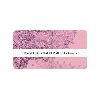 Moderne Geweven Abstracte Roze Gepersonaliseerd Etiket