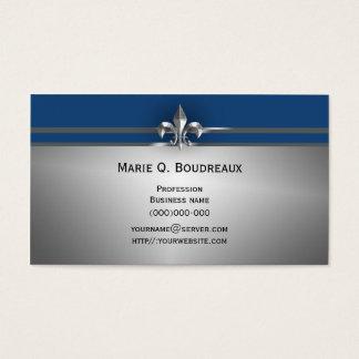 Moderne Grijze Blue Fleur DE Lis Visitekaartjes
