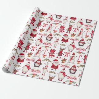 Moderne Kerstmis Santas, Pinguïnen & Polair Beer Inpakpapier