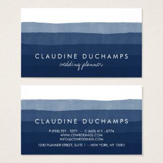 Moderne marineblauwe elegante gestreepte waterverf visitekaartjes