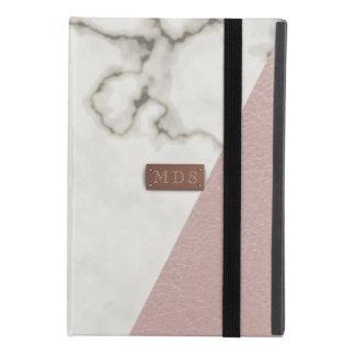 Moderne Marmeren Faux bloost Roze Leer iPad Mini 4 Hoesje