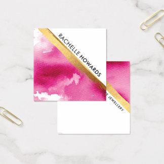 MODERNE MINIMALE roze de waterverf gouden borstel Vierkante Visitekaartjes