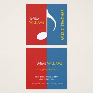 moderne muziekleraar vierkante visitekaartjes