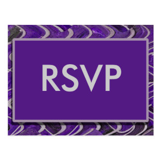 Moderne paars RSVP Briefkaart