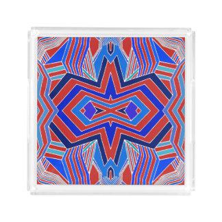 Moderne Rode en Blauwe Geometrisch Acryl Dienblad