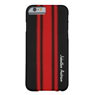 Moderne Rode en Zwarte het Rennen Strepen met Naam Barely There iPhone 6 Hoesje