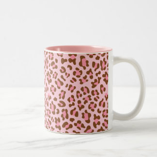 Moderne Roze Choco Dierlijke Druk Girly Tweekleurige Koffiemok