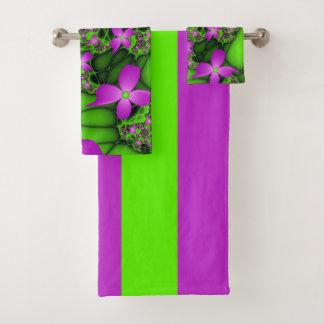 Moderne Roze Groene Fractal van het Abstracte Neon Bad Handdoek