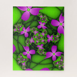 Moderne Roze Groene Fractal van het Abstracte Neon Puzzel