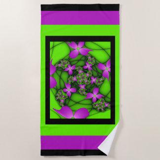 Moderne Roze Groene Fractal van het Abstracte Neon Strandlaken
