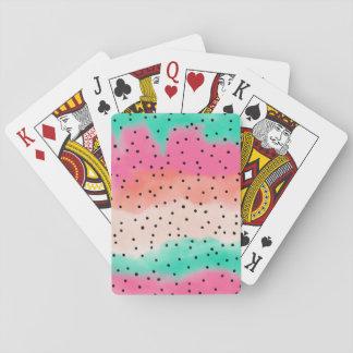 Moderne roze turkooise koraalwaterverf ombre speelkaarten