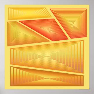 Moderne Samenvatting - 3 Piramides van D, Goud Poster