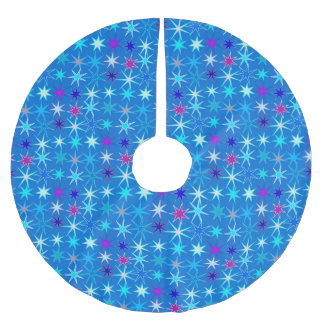 Moderne Starburst Druk, Diep Cerulean Blauw Kerstboom Rok