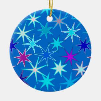 Moderne Starburst Druk, Diep Cerulean Blauw Rond Keramisch Ornament