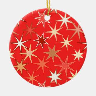 Moderne Starburst Druk, Diep Mandarijntje Rond Keramisch Ornament