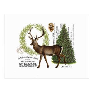 moderne vintage bos de winterherten briefkaart