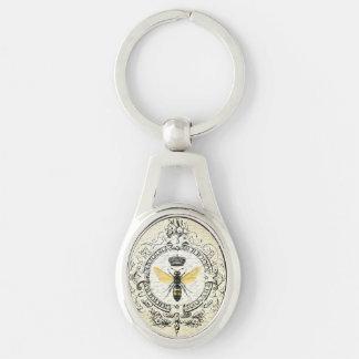 Moderne vintage Franse bijenkoningin Zilverkleurig Ovalen Sleutelhanger