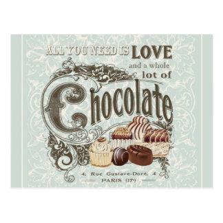 moderne vintage Franse chocolade Briefkaart