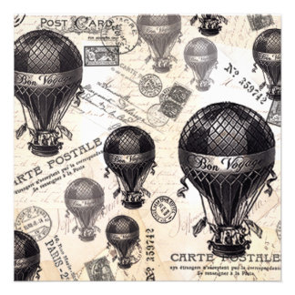 moderne vintage Franse hete luchtballons Aankondigingen