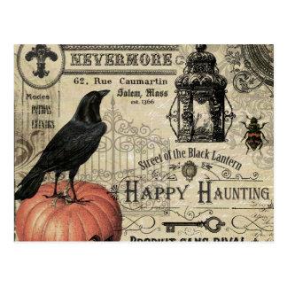 moderne vintage Halloween pompoen en kraai Briefkaart