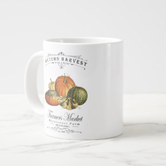 moderne vintage herfstpompoenen en pompoen grote koffiekop