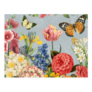 moderne vintage multl botanische bloemen briefkaart