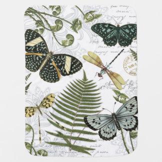 moderne vintage vlinders en libellen inbakerdoek