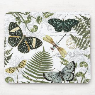 moderne vintage vlinders en libellen muismat