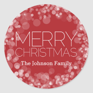 Moderne Vrolijke Kerstmis Rode Gepersonaliseerde Ronde Sticker