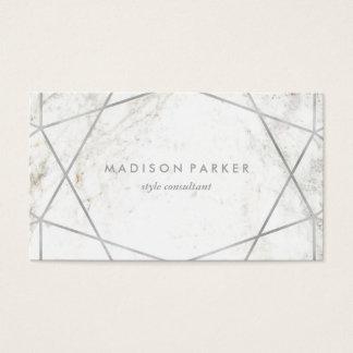 Moderne Zilveren Geometrisch op Wit Marmer Visitekaartjes