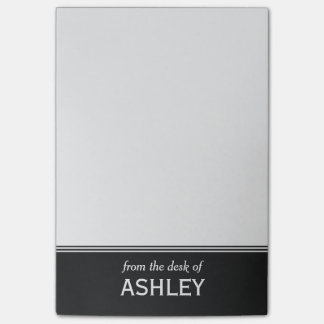 "Moderne Zwart-witte Gepersonaliseerde 4"" x 6 "" Post-it® Notes"
