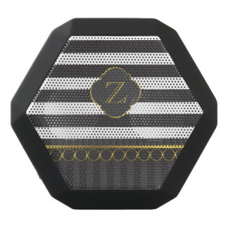 Moderne zwart-witte streep met gouden ringen zwarte bluetooth speaker