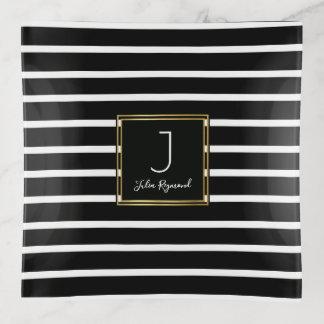 moderne zwart-witte strepen met monogram sierschaaltjes