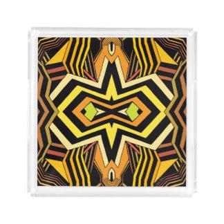 Moderne Zwarte en Gele Geometrisch Acryl Dienblad