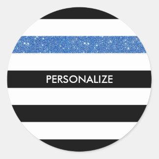 Moderne Zwarte Strepen FAUX Blauwe Glitz en Naam Ronde Sticker