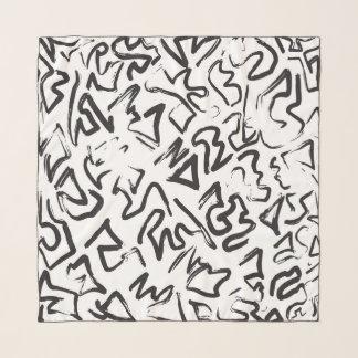 Moderne Zwarte Witte Abstracte Penseelstreken Sjaal