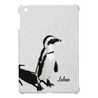 Moderne Zwarte Witte Gepersonaliseerde Pinguïn Art iPad Mini Case