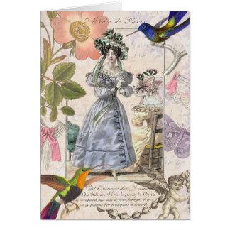 Modes van Parijs - Vintage Elegantie Girly Wenskaart