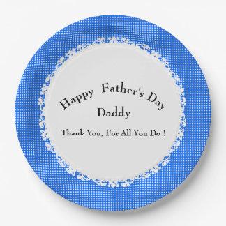 Modieus-blauw-plaid-vader-dag-multi-sjabloon Papieren Bordjes
