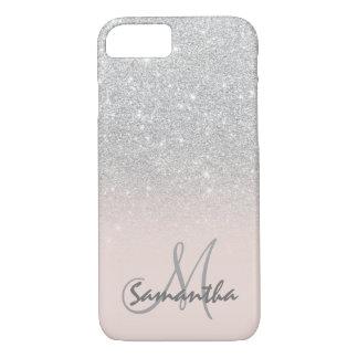 Modieus zilveren gepersonaliseerd ombre roze blok iPhone 8/7 hoesje