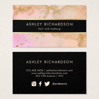 Modieuze Glam bloost Roze, Zwart, en Goud Faux Visitekaartjes