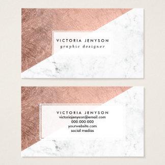 Modieuze modern nam gouden wit marmeren visitekaartjes