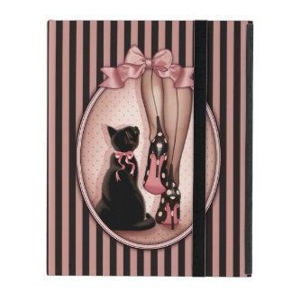 Modieuze vrouw en zwarte kat iPad hoesje