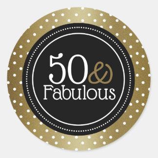 Modieuze Zwart en Goud 50 en Fabelachtig Ronde Sticker